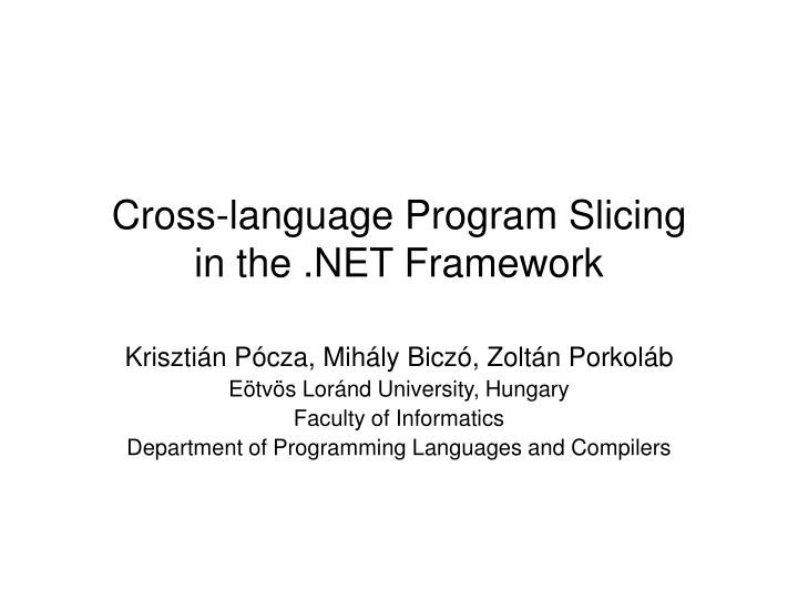 Cross language program slicing in the net framework