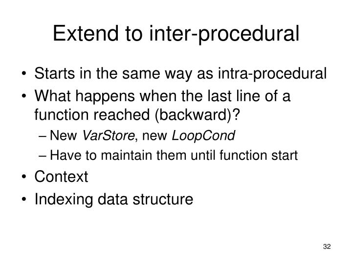 Extend to inter-procedural