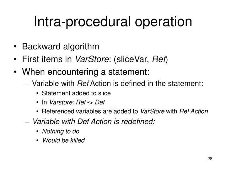 Intra-procedural operation