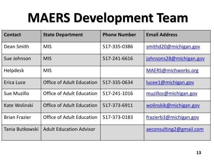 MAERS Development Team