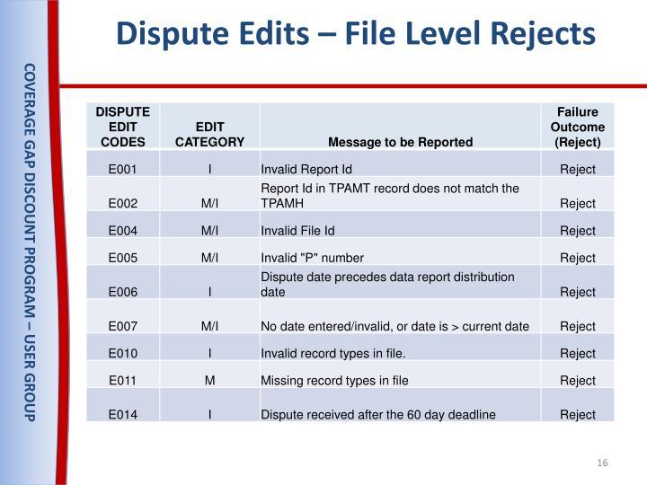 Dispute Edits – File Level Rejects