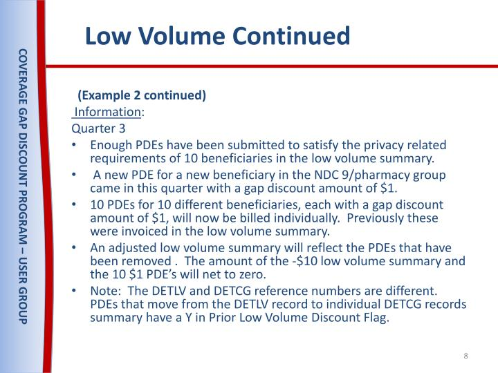 Low Volume Continued