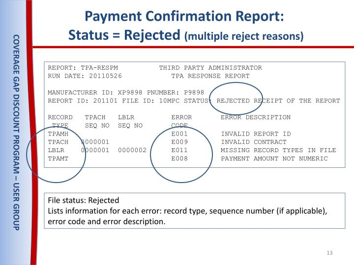 Payment Confirmation Report: