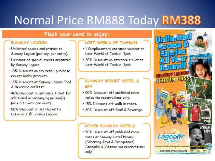 Normal Price RM888 Today