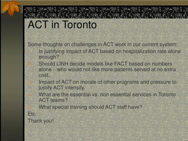 ACT in Toronto
