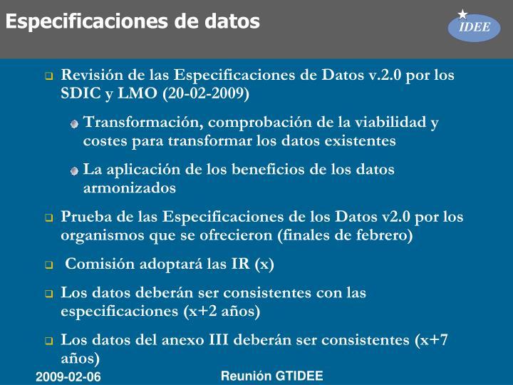 Especificaciones de datos