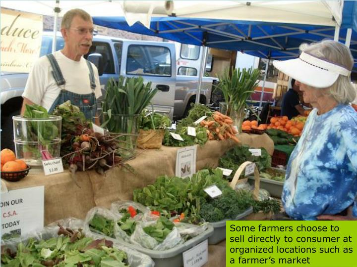 Some farmers choose to sell directly to consumer at organized locations such as a farmer's market