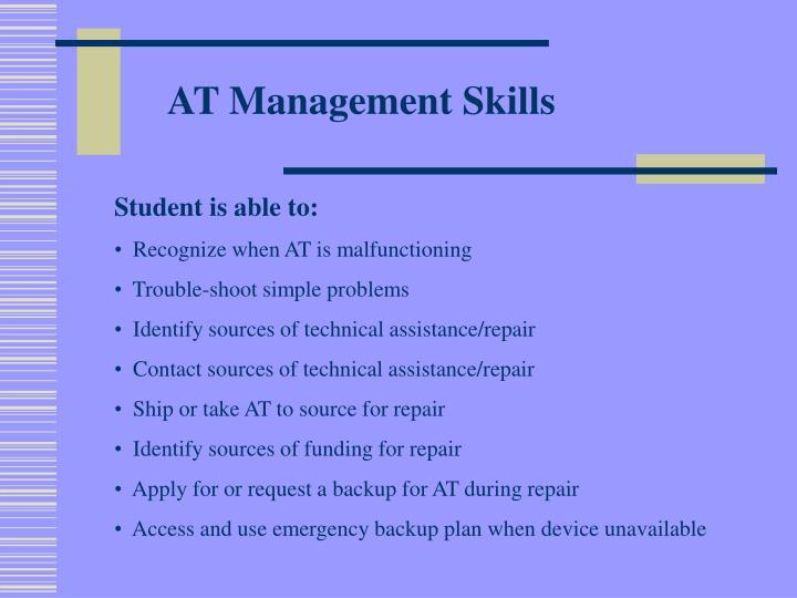 AT Management Skills