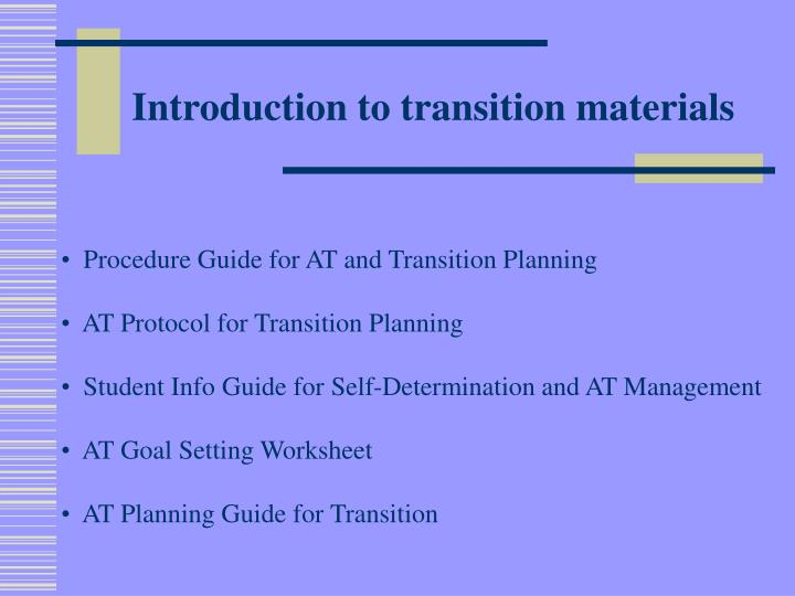 Introduction to transition materials