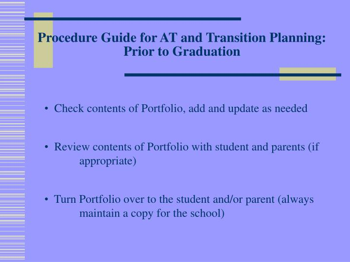 Procedure Guide for AT and Transition Planning: