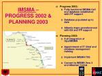 imsma progress 2002 planning 2003