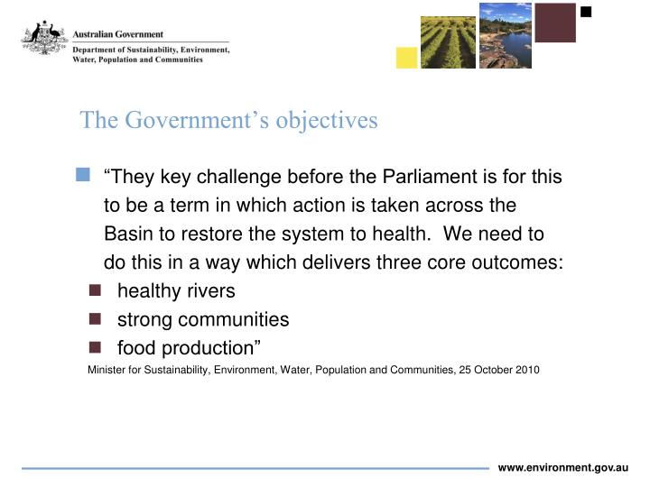 The Government's objectives