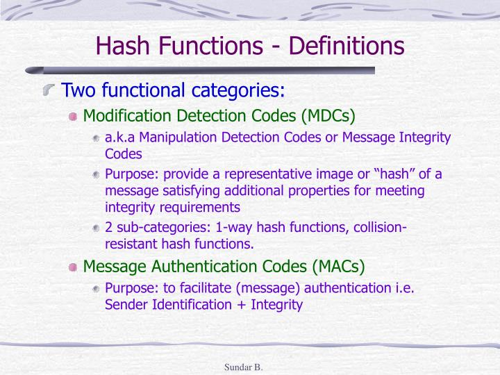 Hash Functions - Definitions