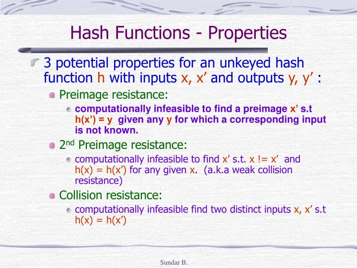 Hash Functions - Properties