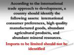 imports to be limited should not be identified