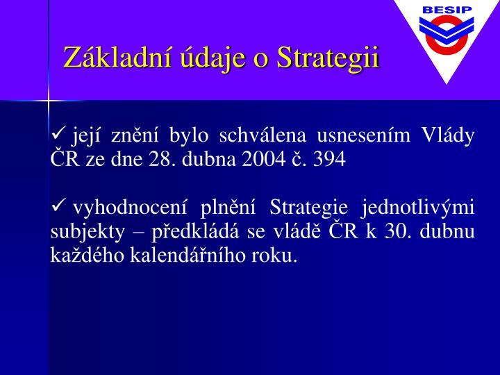 Základní údaje o Strategii