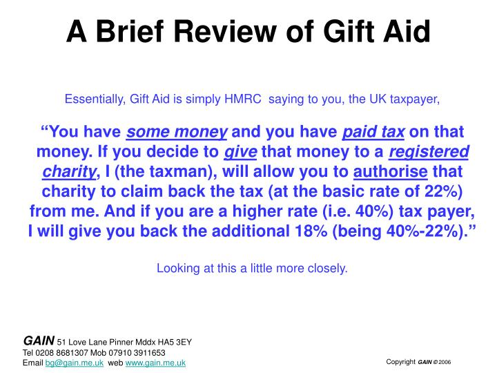 A brief review of gift aid