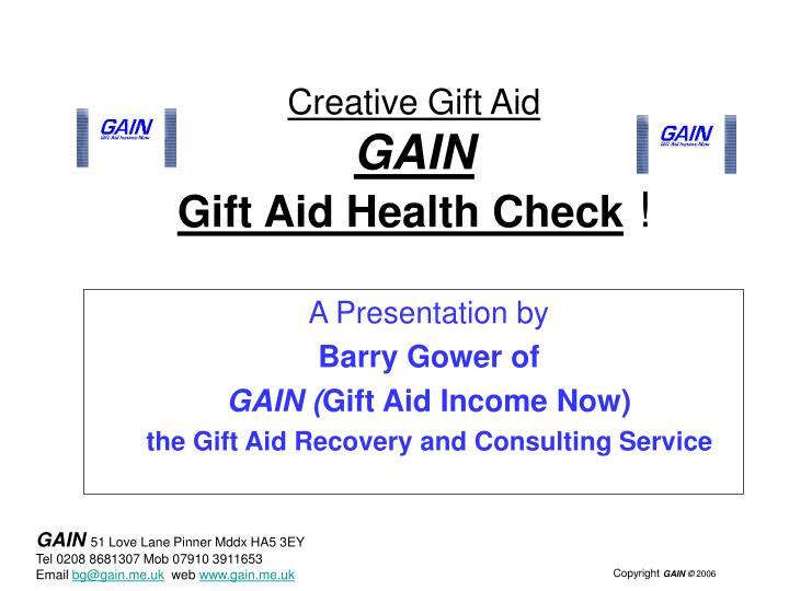Creative gift aid gain gift aid health check