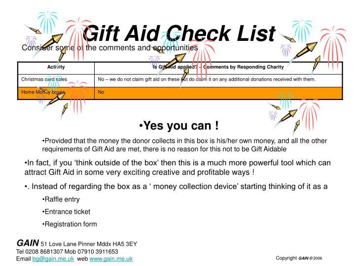 Gift Aid Check List