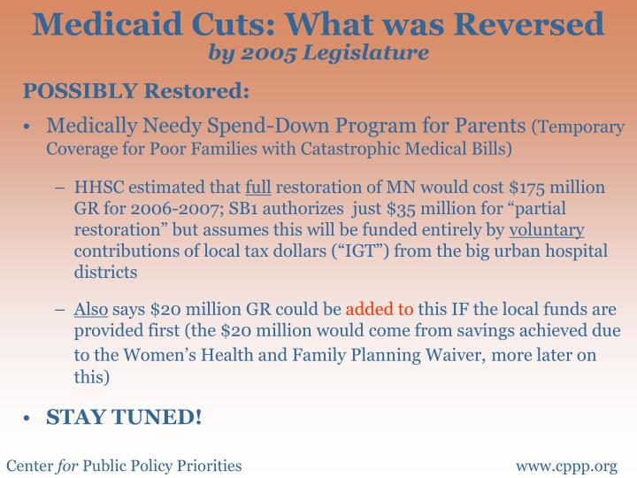 Medicaid Cuts: What was Reversed