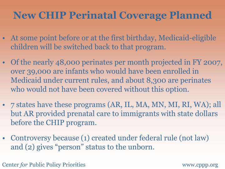 New CHIP Perinatal Coverage Planned