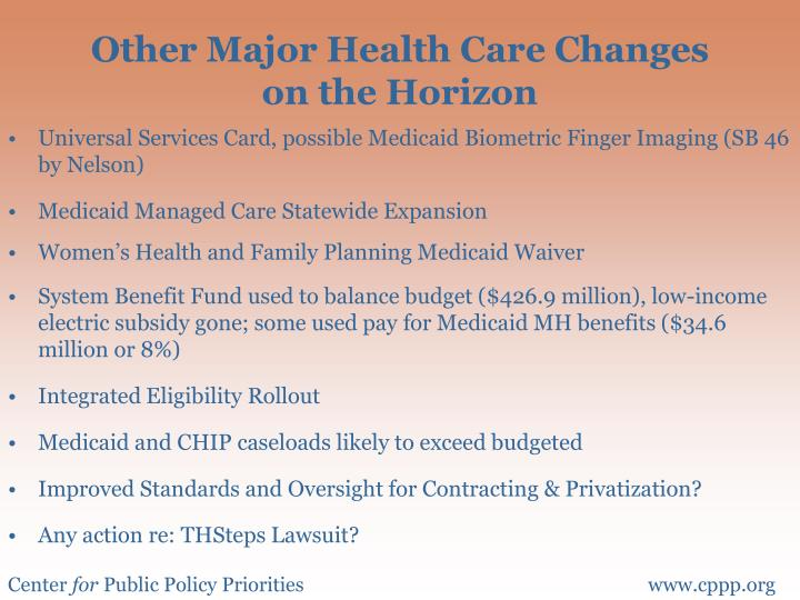Other Major Health Care Changes