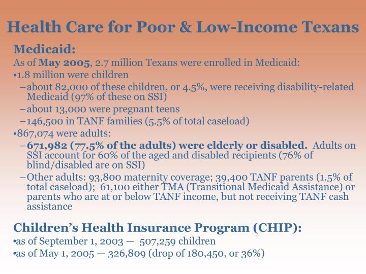 Health Care for Poor & Low-Income Texans