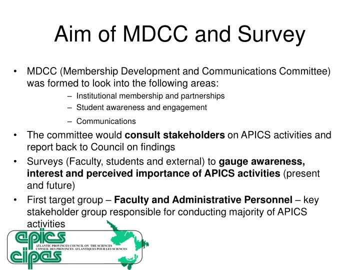 Aim of MDCC and Survey