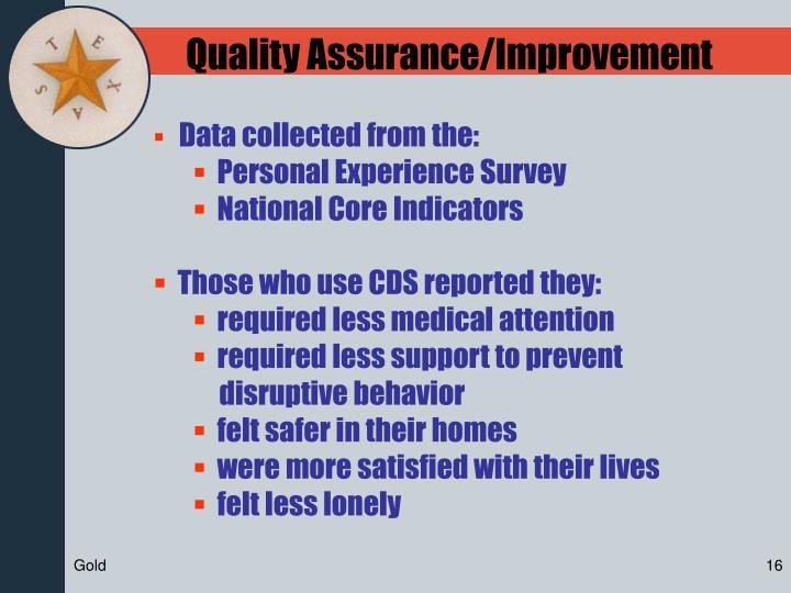 Quality Assurance/Improvement