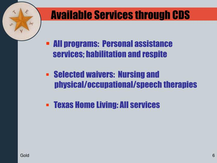 Available Services through CDS