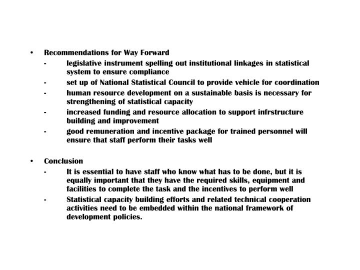 Recommendations for Way Forward