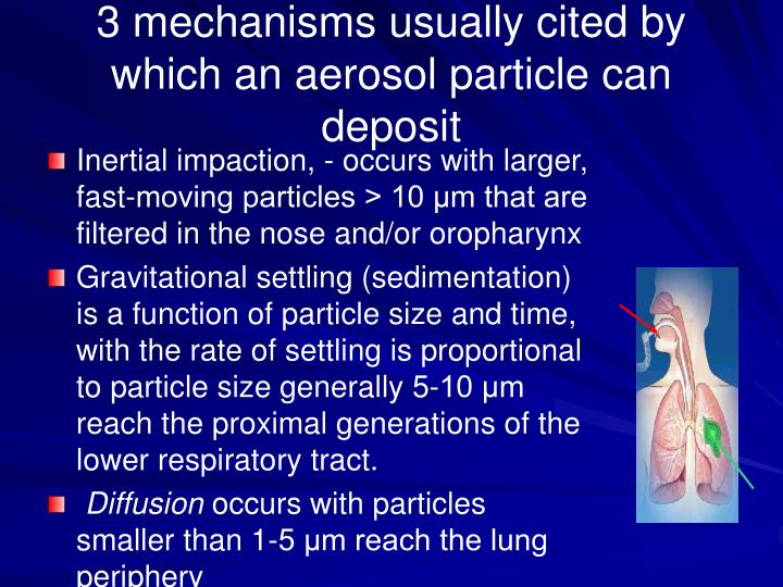 Inertial impaction, - occurs with larger, fast-moving particles > 10 μm that are filtered in the nose and/or oropharynx