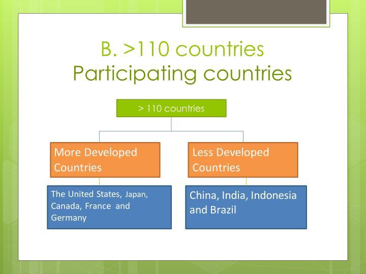 B. >110 countries