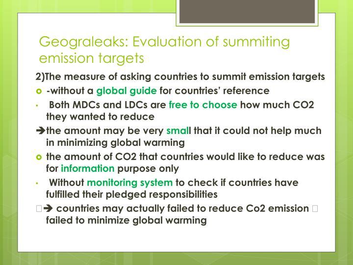 Geograleaks: Evaluation of summiting emission targets