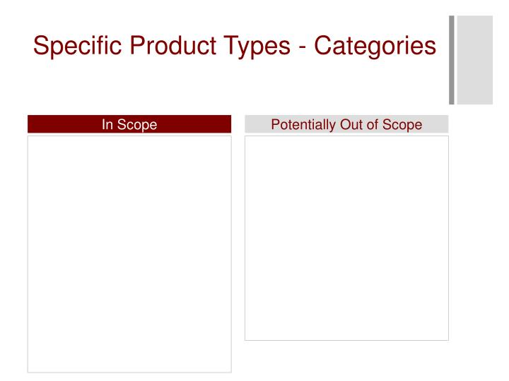 Specific Product Types - Categories