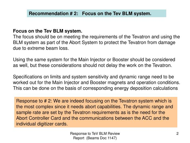Recommendation # 2:   Focus on the Tev BLM system.