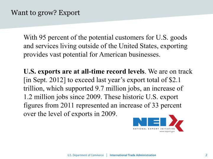 Want to grow? Export