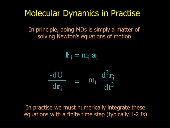 Molecular Dynamics in Practise