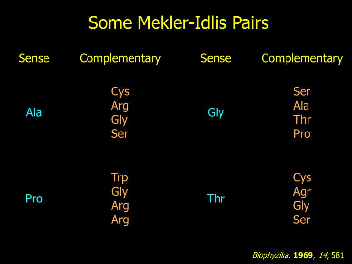 Some Mekler-Idlis Pairs