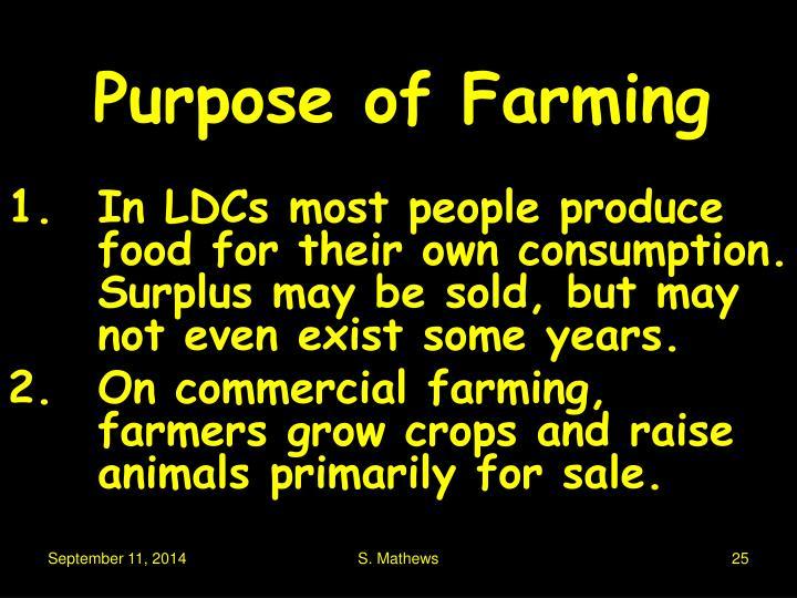 Purpose of Farming