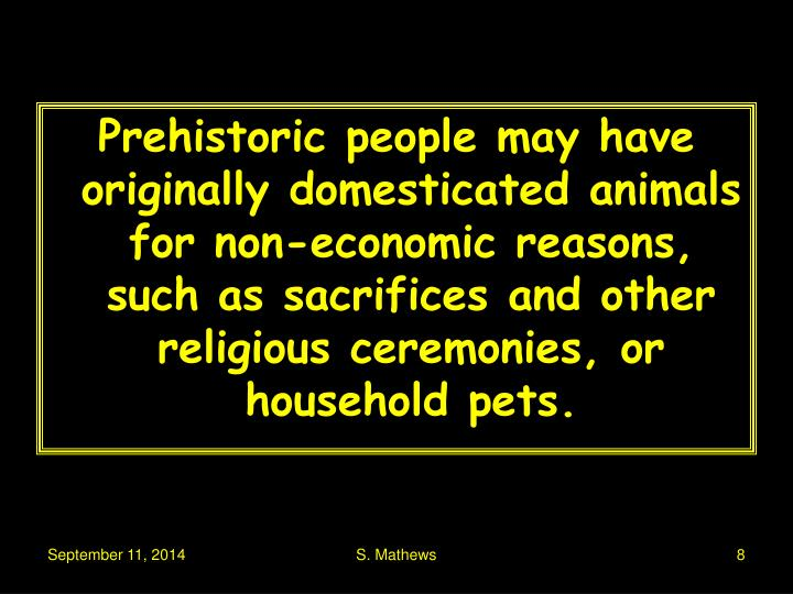 Prehistoric people may have originally domesticated animals for non-economic reasons, such as sacrifices and other religious ceremonies, or household pets.
