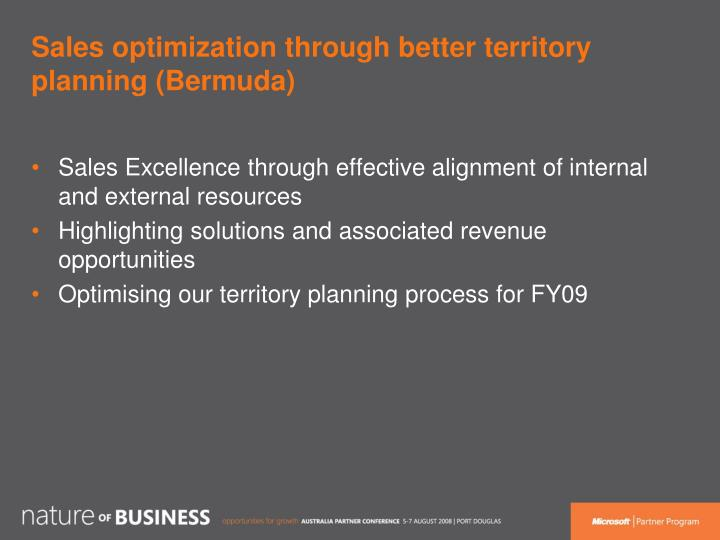 Sales optimization through better territory planning (Bermuda)