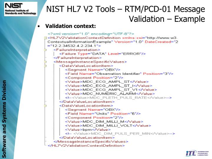 NIST HL7 V2 Tools – RTM/PCD-01 Message Validation – Example