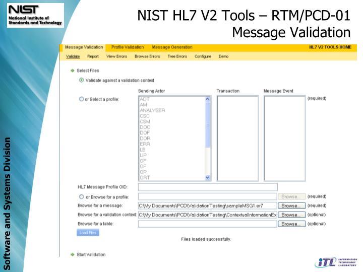 NIST HL7 V2 Tools – RTM/PCD-01