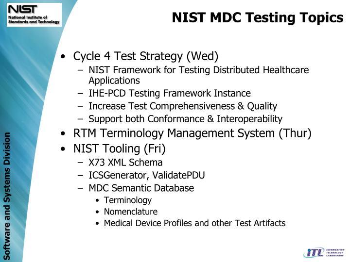 NIST MDC Testing Topics