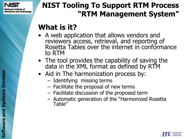NIST Tooling To Support RTM Process