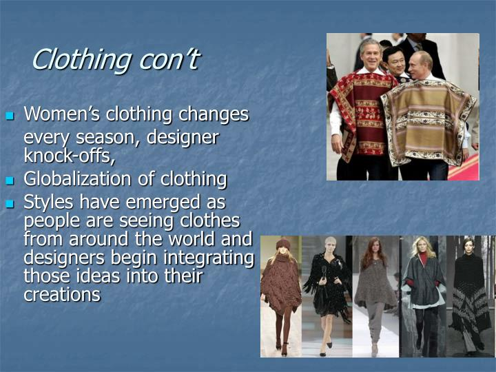 Clothing con't