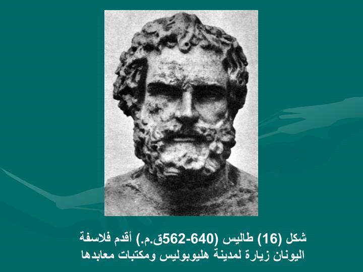شكل (16) طاليس (640-562ق.م.) أقدم فلاسفة اليونان زيارة لمدينة هليوبوليس ومكتبات معابدها