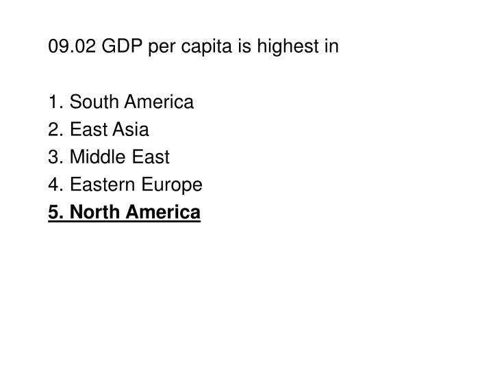 09.02 GDP per capita is highest in