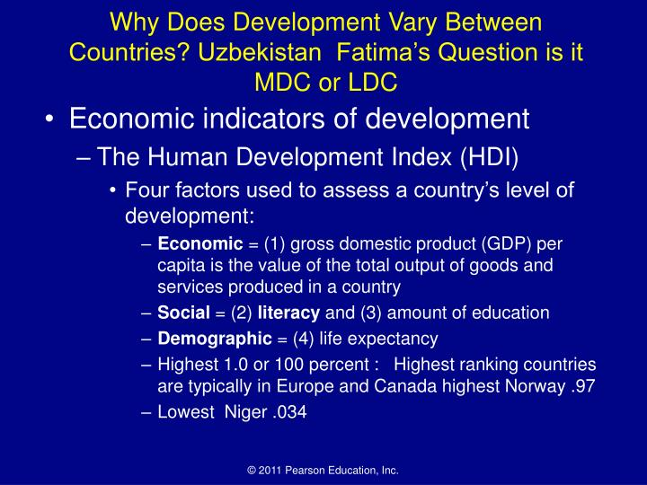 Why Does Development Vary Between Countries? Uzbekistan  Fatima's Question is it MDC or LDC
